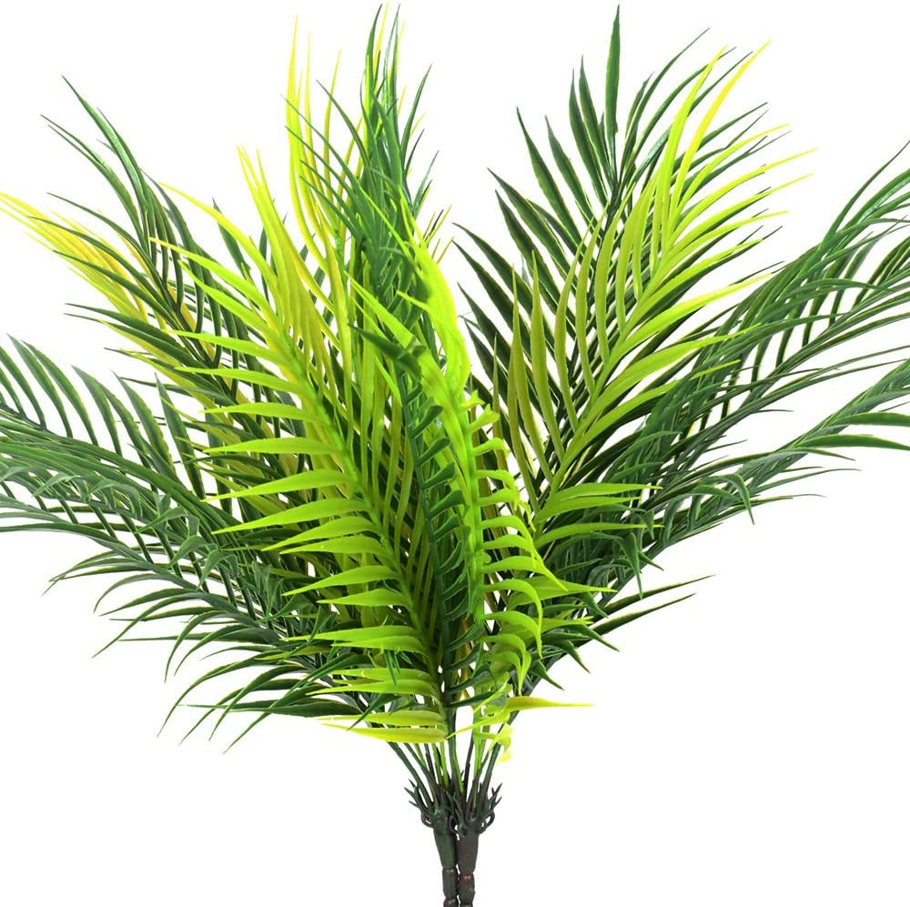 HANDIC Artificial Palm Tree Leaves Tropical Plant Outdoor UV Resistant Faux Fake Palm Frond Plants Greenery Flowers for Home Kitchen Party Arrangement Wedding Decoration (Pack of 2)