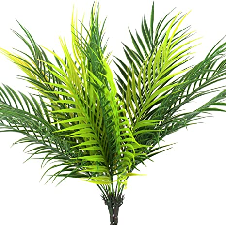 Amazon Com Handic Artificial Palm Tree Leaves Tropical Plant Outdoor Uv Resistant Faux Fake Palm Frond Plants Greenery Flowers For Home Kitchen Party Arrangement Wedding Decoration Pack Of 2 Furniture Decor