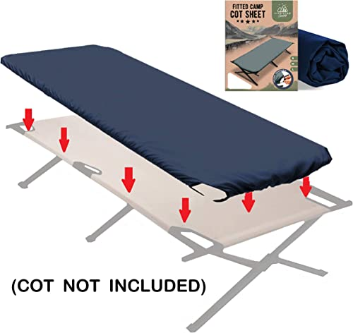 Fitted Camping Cot Sheet for Adult Sleeping Cots. Great for Hunting Camping Bedding That fits Most Army cots, Military cots, Travel cots and Folding Cots Keeps Your Sleeping Pad Secure