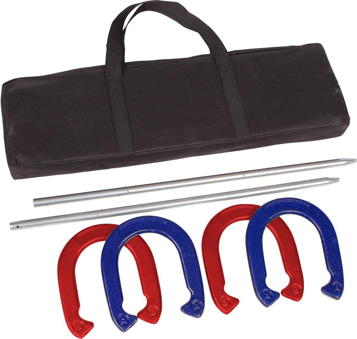 Trademark Innovations Pro Horseshoe Set - Powder Coated Steel (Red and Blue)