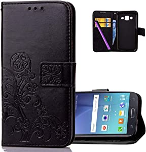 HMTECHUS Galaxy J7 2015 case Embossed Floral Card Slots Magnetic Flip Stand Shockproof PU Leather Wallet Slim Protect Cover for Samsung Galaxy J7 2015 / J7 Neo Lucky Clover:Black XD