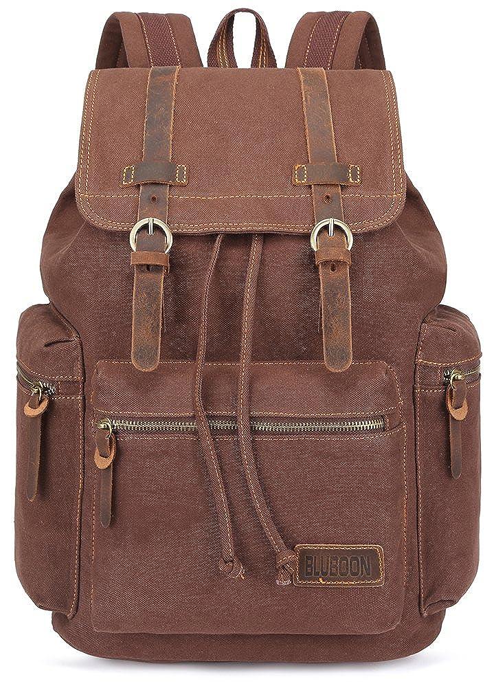 BLUBOON Canvas Vintage Backpack Leather Casual Bookbag Men Women Laptop Travel Rucksack