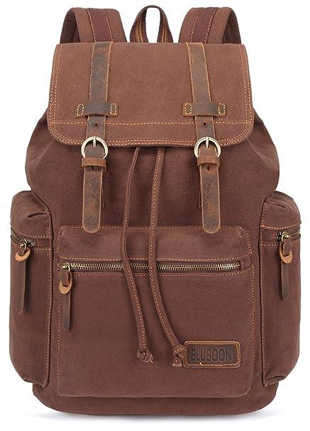 9df16c5fb3 BLUBOON Canvas Vintage Backpack Leather Trim Casual Bookbag Men Women  Laptop Travel Rucksack