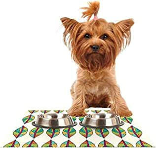 Kess InHouse Pom Graphic Design Tribal Leaves Feeding Mat for Pet Bowl, 24 by 15-Inch
