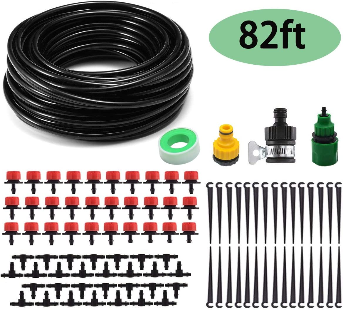 Kalolary 82ft Micro Drip Irrigation Kit System, DIY Plant Garden Hose Watering Kit, with 1/4'' Blank Distribution Tubing Hose for Agriculture,Lawn, Plants, Garden, Patio, Greenhouse