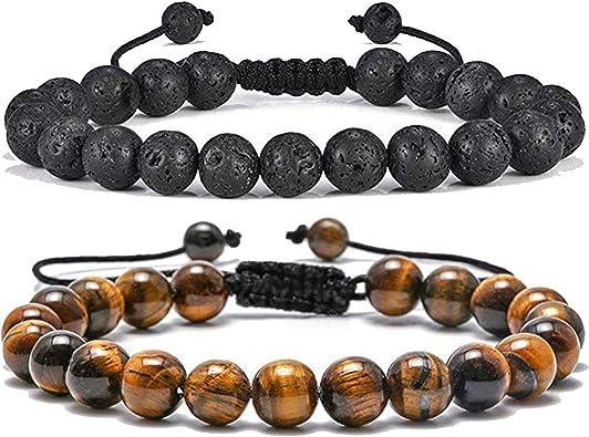 Crystal healing bracelet Tiger eye natural gemstone Men Tiger eyeLava stone Bracelet Yoga Meditation gift Hamsa Hand charm jewelry