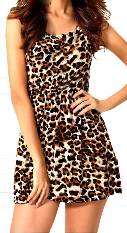 ASL Women Sexy Sleeveless Fashion Leopard Slim Party Beach Dress