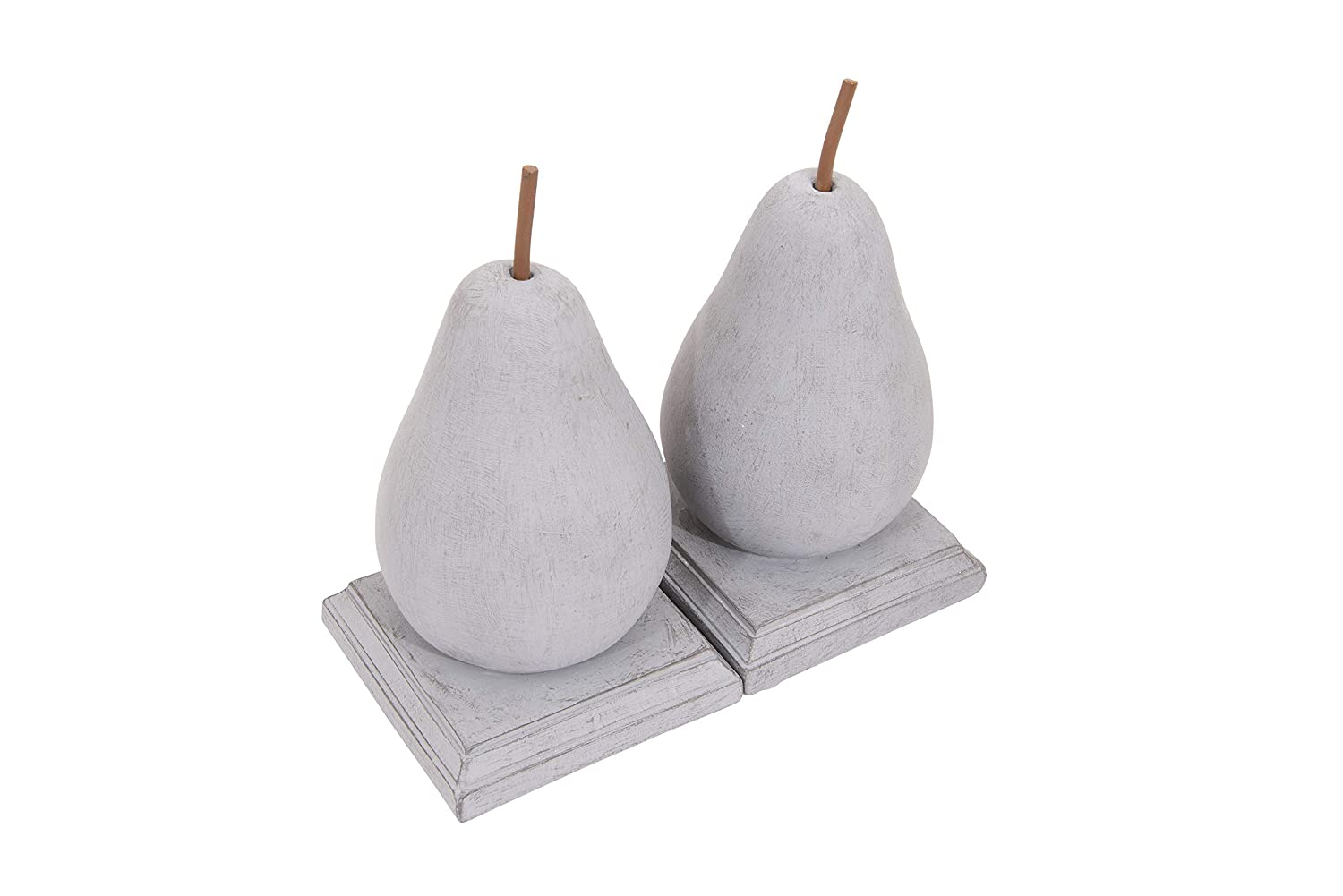 Set of 2 Pieces DF0214 Creative Co-Op Grey Resin Pear Shaped Bookends
