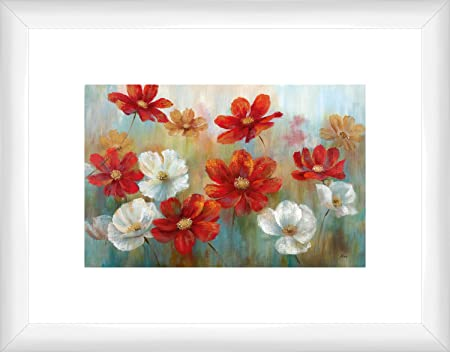 Ptm Images Red And White Flowers Framed Artwork Small White