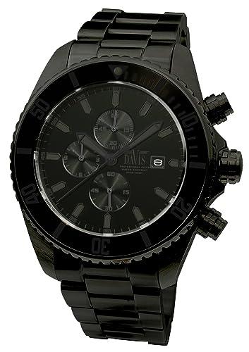 Davis 1740 - Reloj Deportivo Hombre Submarinismo Cronógrafo Sumergible 200M Correa Acero: Amazon.es: Relojes