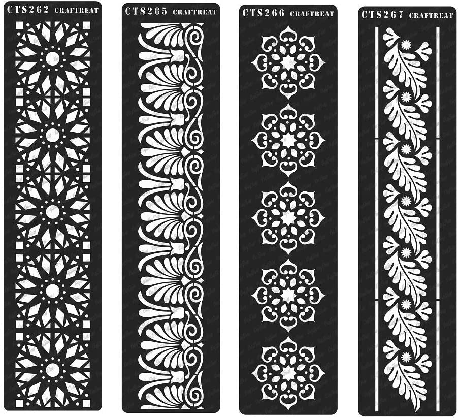 Tile Wall Floor Crafting 2 pcs Wood 3X12 Snake Skin /& Giraffe Skin DIY Albums CrafTreat Stencil Scrapbook and Printing on Paper | Reusable Painting Template for Home Decor Fabric