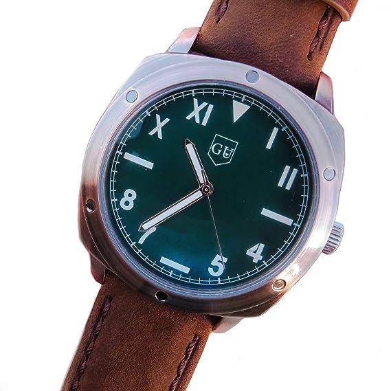 Guijarro, Limited Edition - Reloj de Acero Inoxidable Chapado en Bronce. Análogico de Cuarzo con Correa de Cuero para Hombre, Color marrón: Amazon.es: ...