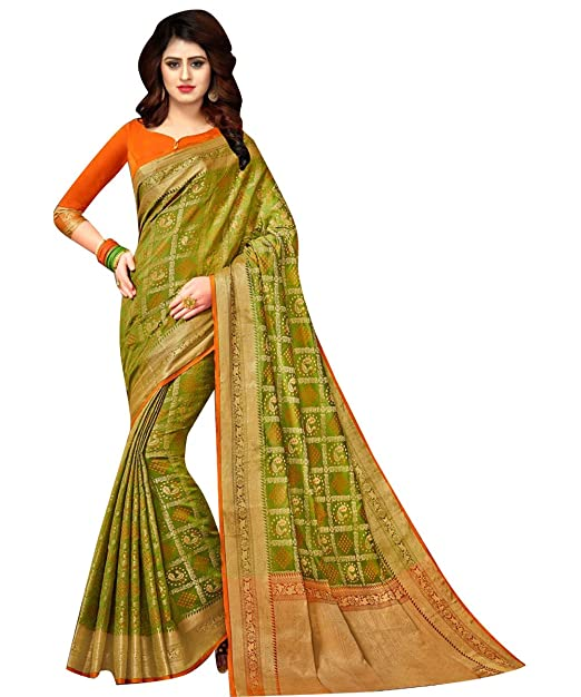 6922d091d44d54 Ethnic Diwa New Designer Patola Silk Green Saree With Fabulous Border For  Women  Amazon.in  Clothing   Accessories