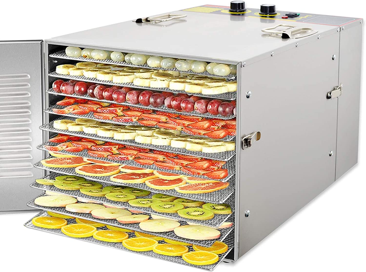 Zz Pro Commercial Stainless Steel Electric Food Dehydrator Machine, Meat or Beef Maker, Fruit Dryer with 10 Trays, 155 Degree Fahrenheit, Jerky Safe with adjustable 15 Hour Timer, 1000W for Restaurant