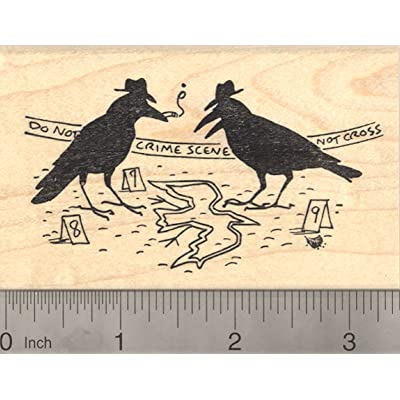 Murder of Crows Rubber Stamp, Crow Crime Scene Detective: Arts, Crafts & Sewing [5Bkhe0201356]