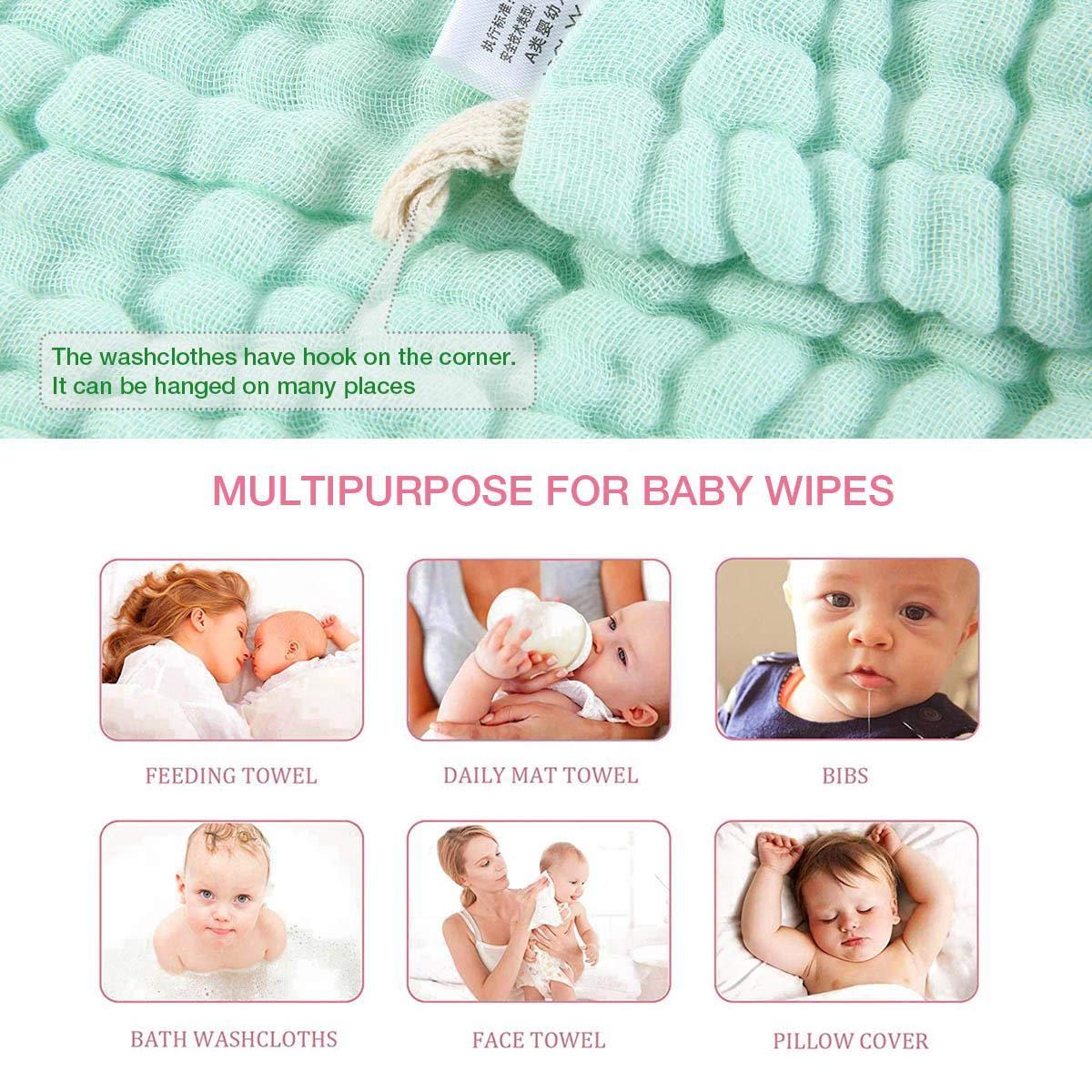 30 X 30cm Nat/ürliche Bio-Baumwolle Baby-Feuchtt/ücher Volwco 5 St/ück Baby Musselin Waschlappen weiche neugeborenes Baby Handtuch und Musselin Waschlappen f/ür empfindliche Haut