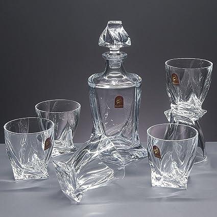 Set/Estuche de 6 Vasos Bajos de Cristal para Whisky o Agua + Botella de