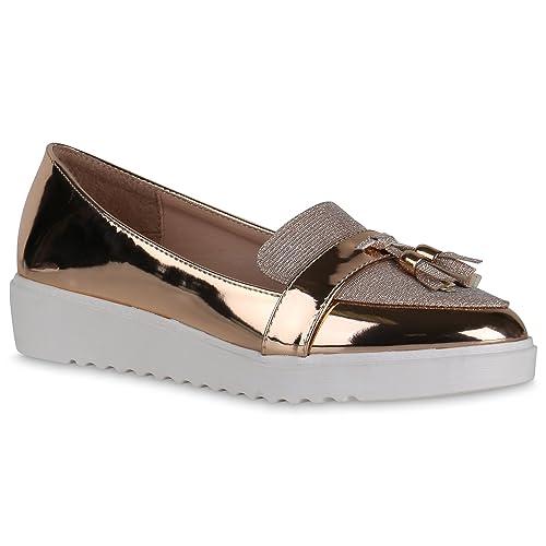 Stiefelparadies - Mocasines Mujer , color dorado, talla 39 EU: Amazon.es: Zapatos y complementos