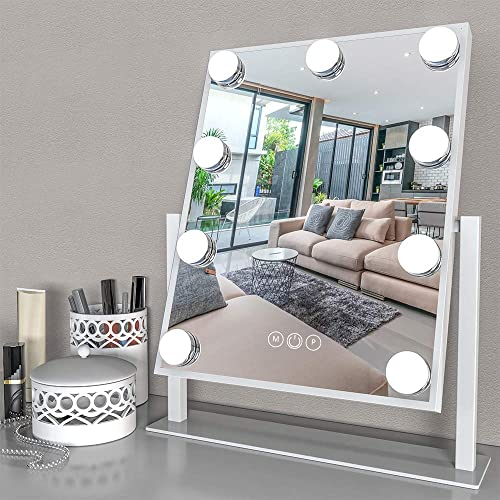 Fenair Lighted Vanity Mirror – Hollywood Style Makeup Vanity Mirror with Lights and Magnification,3 Color Model, Cosmetic Mirror with 9 Detachable Dimmable Bulbs for Dressing Table White