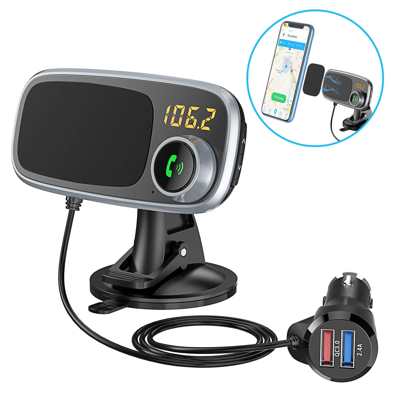 2 en 1 Kit Voiture sans Fil avec Quick Charge 3.0 360/° Rotation Porte T/él/éphone pour Tableau de Bord 5V//2.4A Dual USB Ports Bovon Transmetteur FM Bluetooth /& Support T/él/éphone Voiture Magn/étique