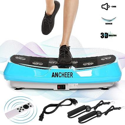 ANCHEER 3D Vibrationsplatte mit 2 Leisen Motoren Fernbedienung Color Touch Display Fitness Vibrationsger/äte mit 3D Wipp Vibrations Technologie Magnetfeldtherapie Massage Einmaligen Curved Design Trainingsb/änder