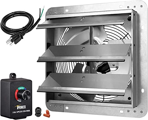 iPower 7 Inch Shutter Exhaust Fan Aluminum with Speed Controller and Power Cord