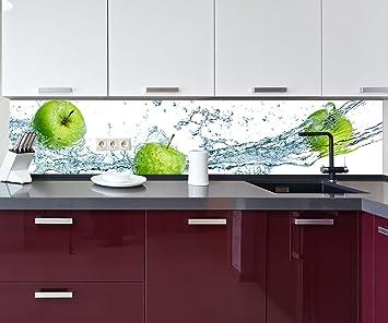 wandmotiv24 Cocina Pared Trasera Manzana Verde Design M0736 260 x 50 cm (W x H) - 3 mm de Aluminio ...