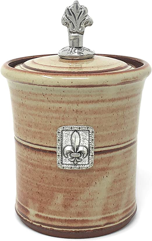Pistachio by Oregon Stoneware Studio Oregon Stoneware Studio Fleur de Lys Garlic Pot with Pewter Finial