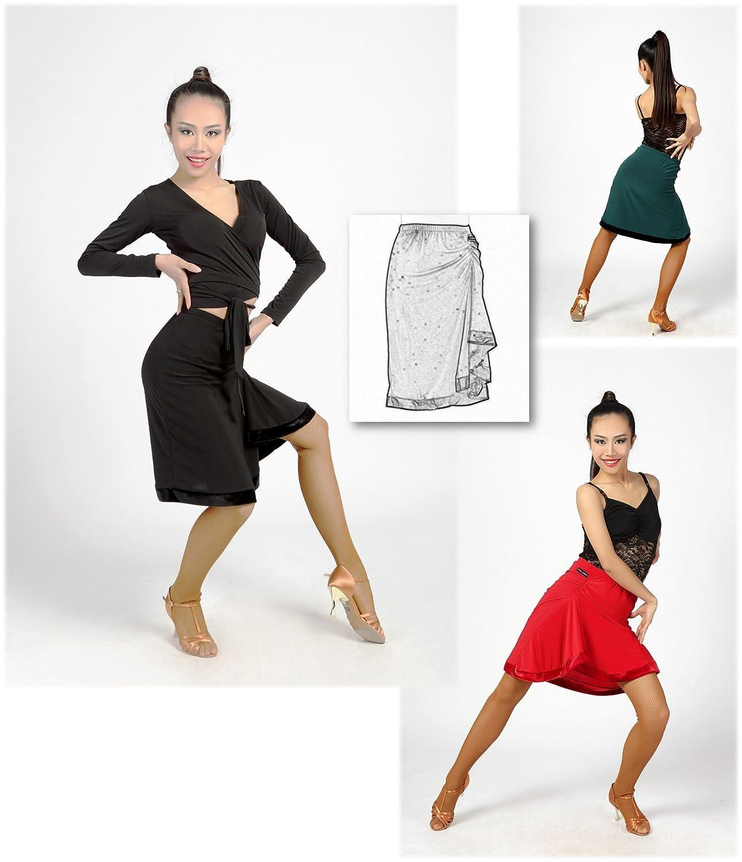 G2026 Latin Ballroom Dance Professional Irregular Folding Surface Velvet Edge Skirt