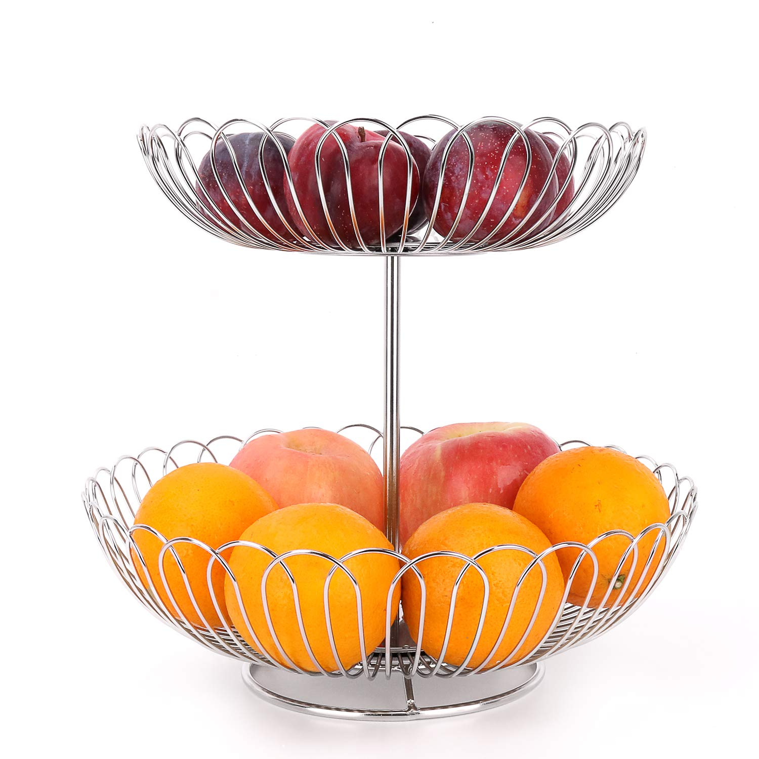 Stainless Steel 2 Tier Wire Fruit Basket Bowl for Kitchen Counter Stand with Bread by LANEJOY (Image #3)