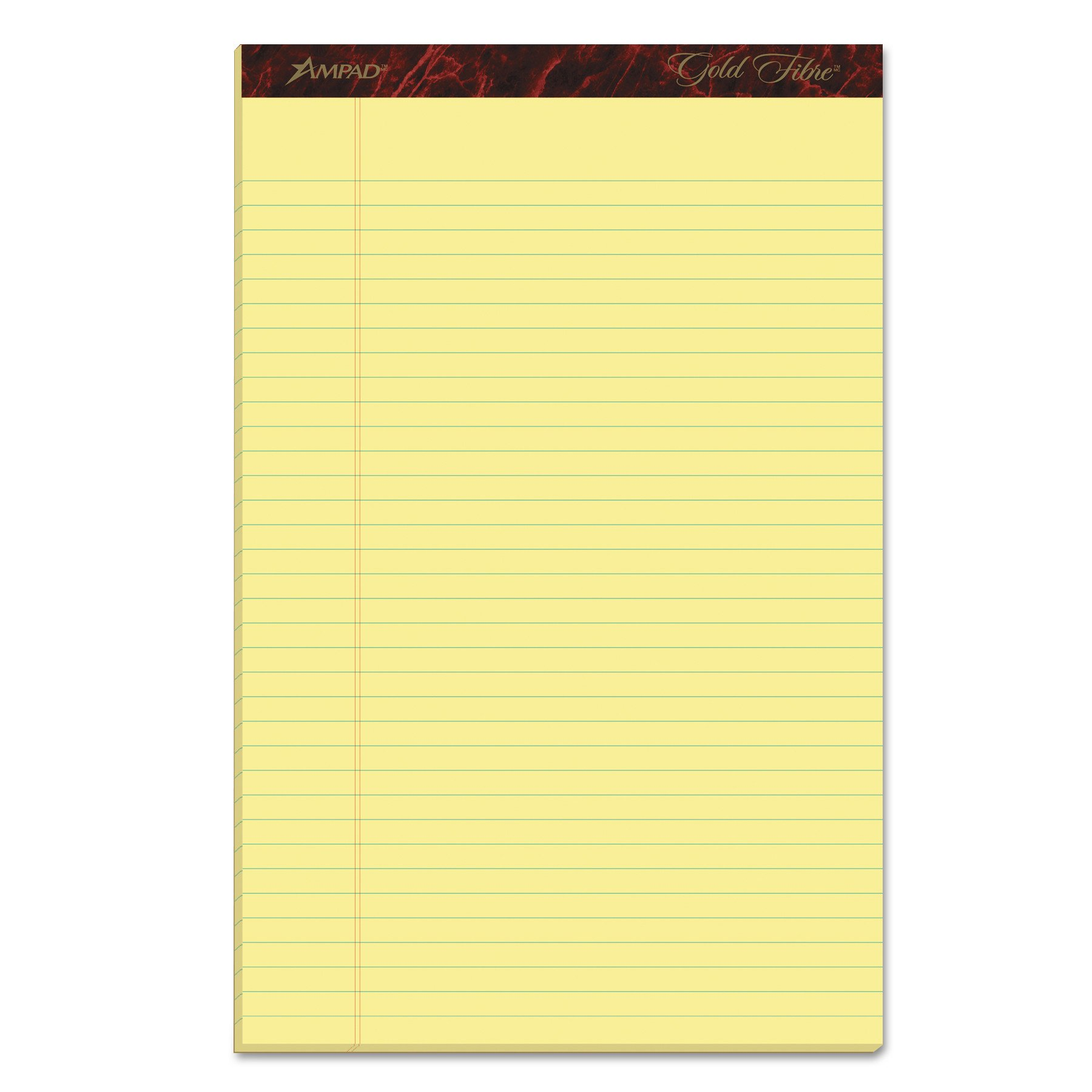 Ampad Gold Fibre Writing Pads, 8-1/2'' x 14'', Legal Rule, Canary Paper, 50 Sheets, 12 Pack (20-030R)