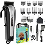 Beautural Professional Cord/Cordless Pet Grooming Clipper Kit, Low Noise Rechargeable Dog and Cat Hair Trimmer with Combs, Scissors, Styling Apron, Storage Case