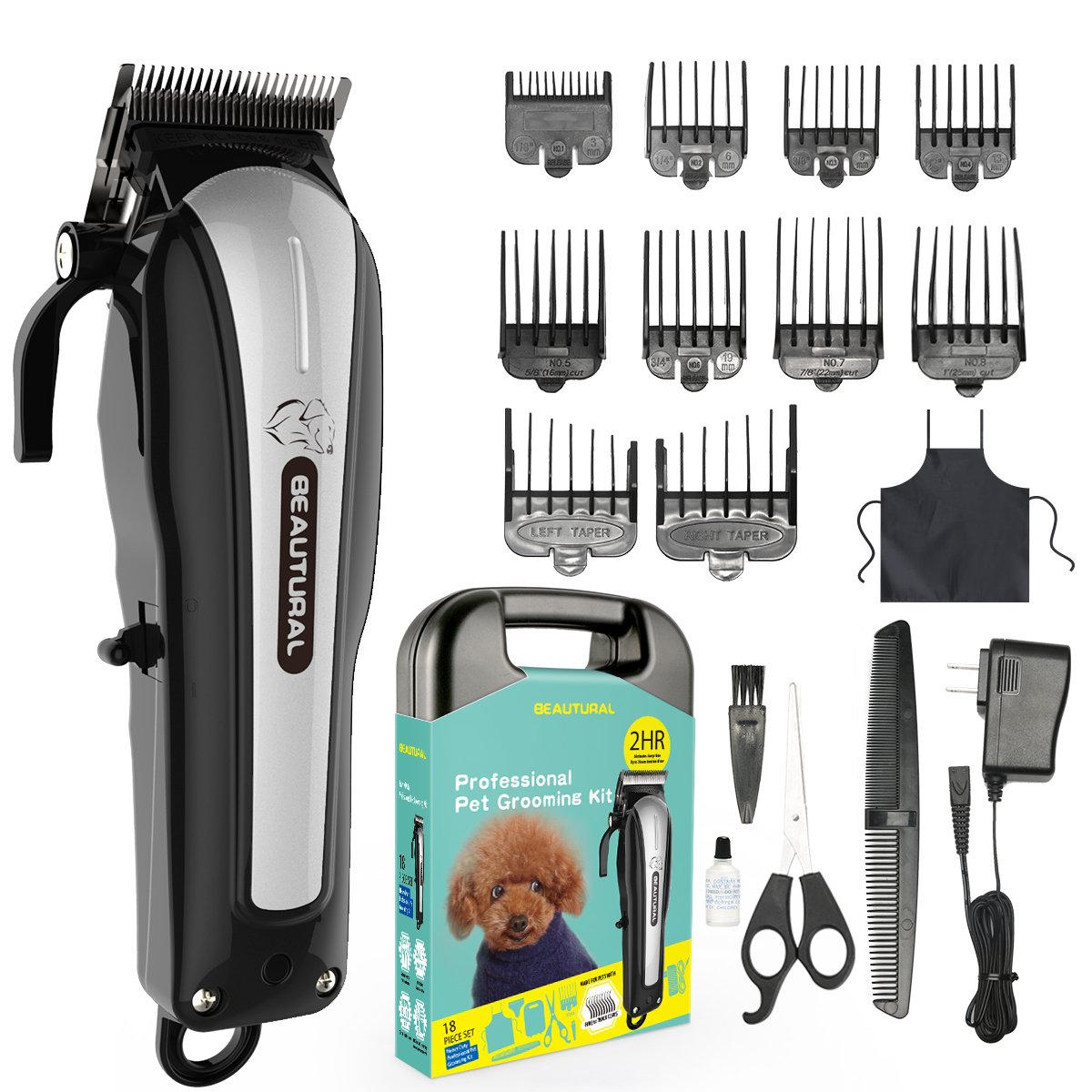 Beautural Professional Cordless Pet Grooming Clipper Kit, Low Noise Rechargeable Dog Cat Hair Trimmer Combs, Scissors, Styling Apron, Storage Case