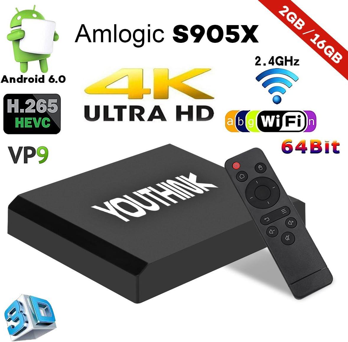Smart TV Box Android 6,0 TV Box Set 2 GB 16 GB Amlogic s905X CPU Quad Core A53 Procesador de 64 bits WiFi/1080p/4K con HDMI/USB/AV/Tarjeta TF: Amazon.es: Electrónica
