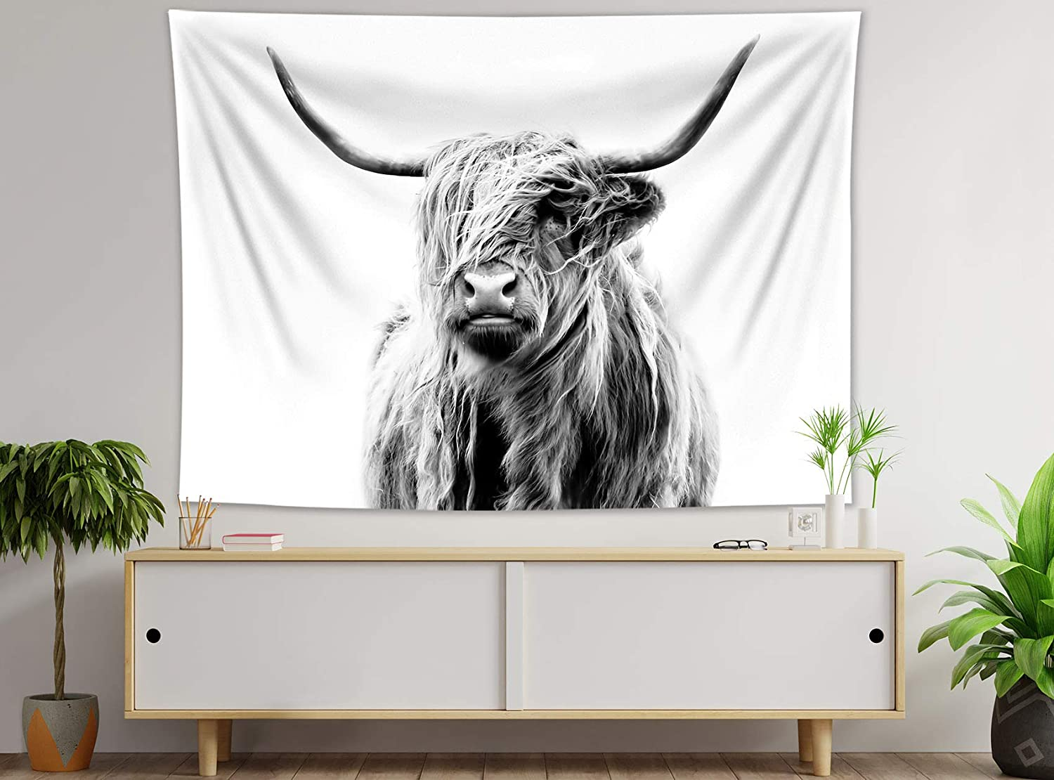 HVEST Highland Cow Tapestry Cute Rustic Farmhouse Animal Cattle Wall Art Decor Tapestries Funny Cow Portrait Poster for Living Room Bedroom Teen Dorm Indie Decor Artwork,59x51 Inches
