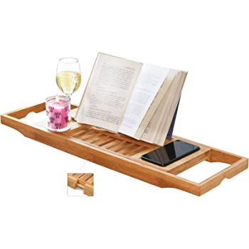 Amazon.com: DOZYANT Bamboo Bathtub Caddy Tray Wooden Bath Tray Table ...