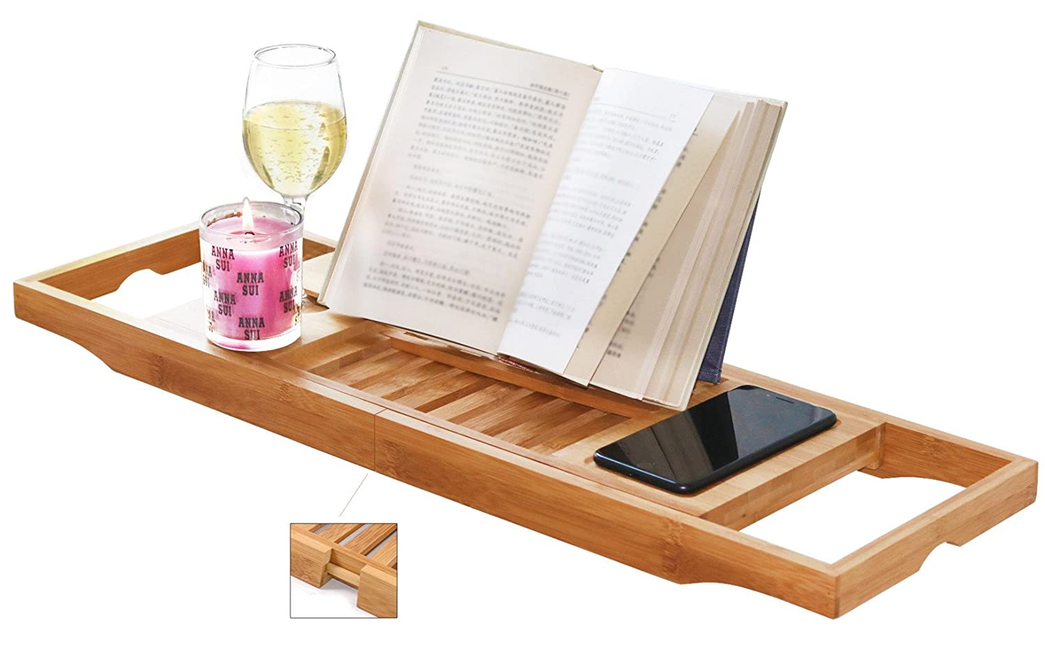 Amazon.com: DOZYANT Bamboo Bathtub Caddy Tray Bathtub Rack, One or ...