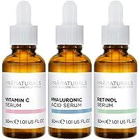 PraNaturals Skin Perfector Face Serums Kit 3x30ml, Hyaluronzuur, Retinol & Vitamine C, Huidverzorging Tegen Veroudering…