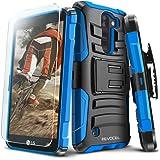 Evocel LG K8V (Verizon) [Generation Series] Rugged Holster [Kickstand & Belt Swivel Clip] + HD Screen Protector For LG K8V (VS500), Blue (EVO-LGVS500-AB202)