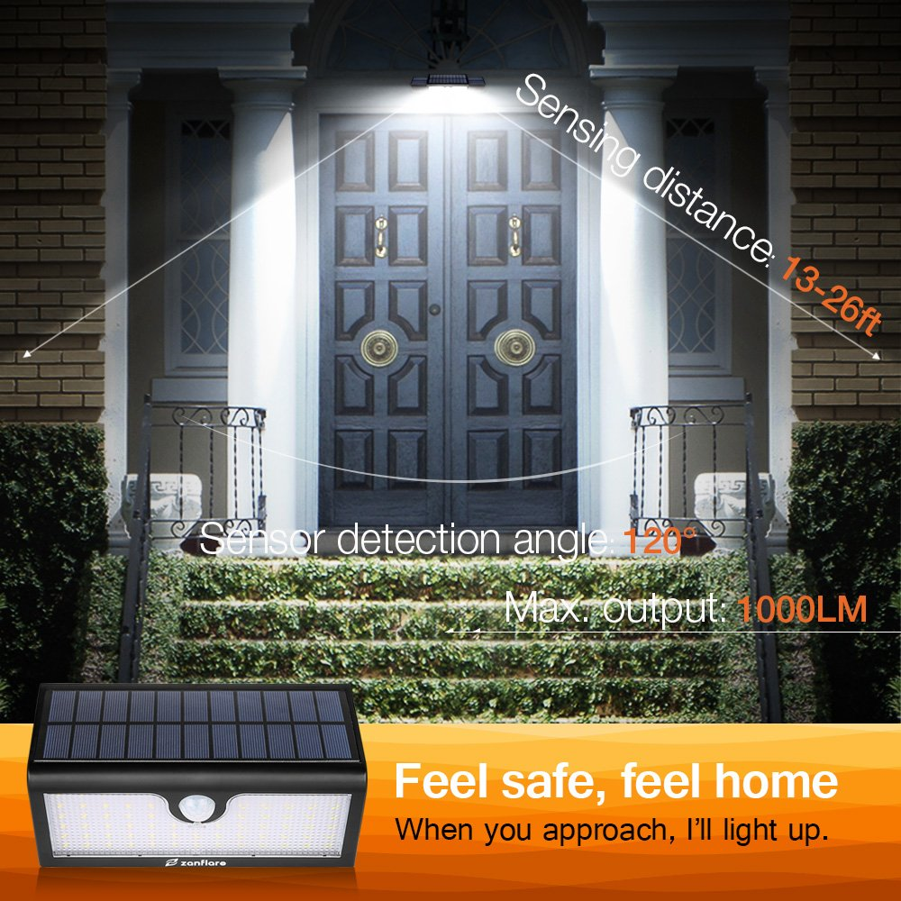 LED Lumière Solaire Extérieure [71 LED, 5200mAh, Etanche] Zanflare Lampe Solaire Extérieure, Lampe de Sécurité avec Détecteur de Mouvement, Eclairage extérieur