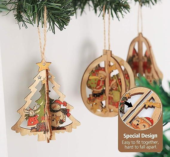 Campana de Navidad de Madera Formas Calados Decoraciones Navidad Adorno Decoración De Arte En Blanco
