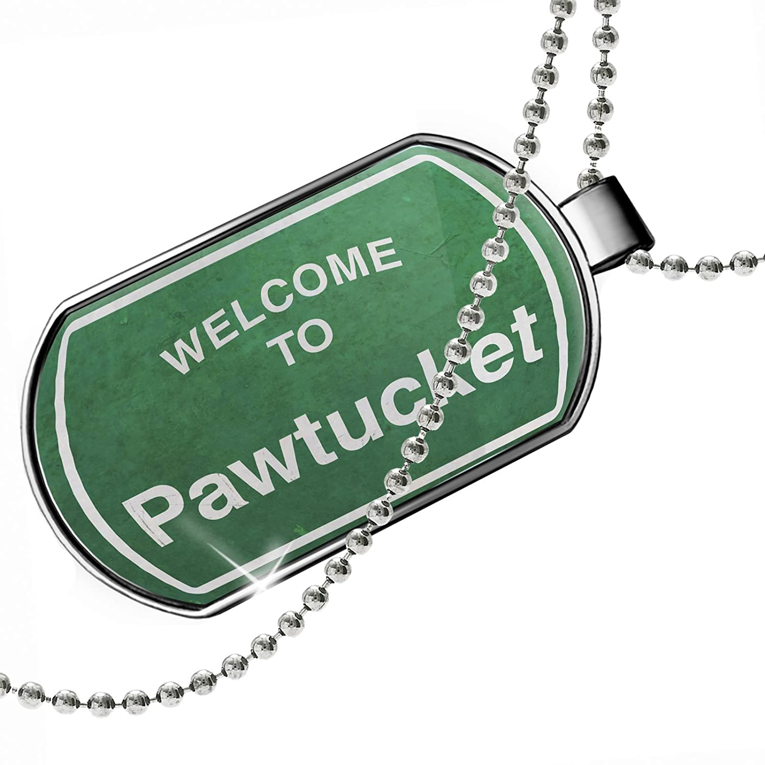 NEONBLOND Personalized Name Engraved Green Road Sign Welcome to Pawtucket Dogtag Necklace