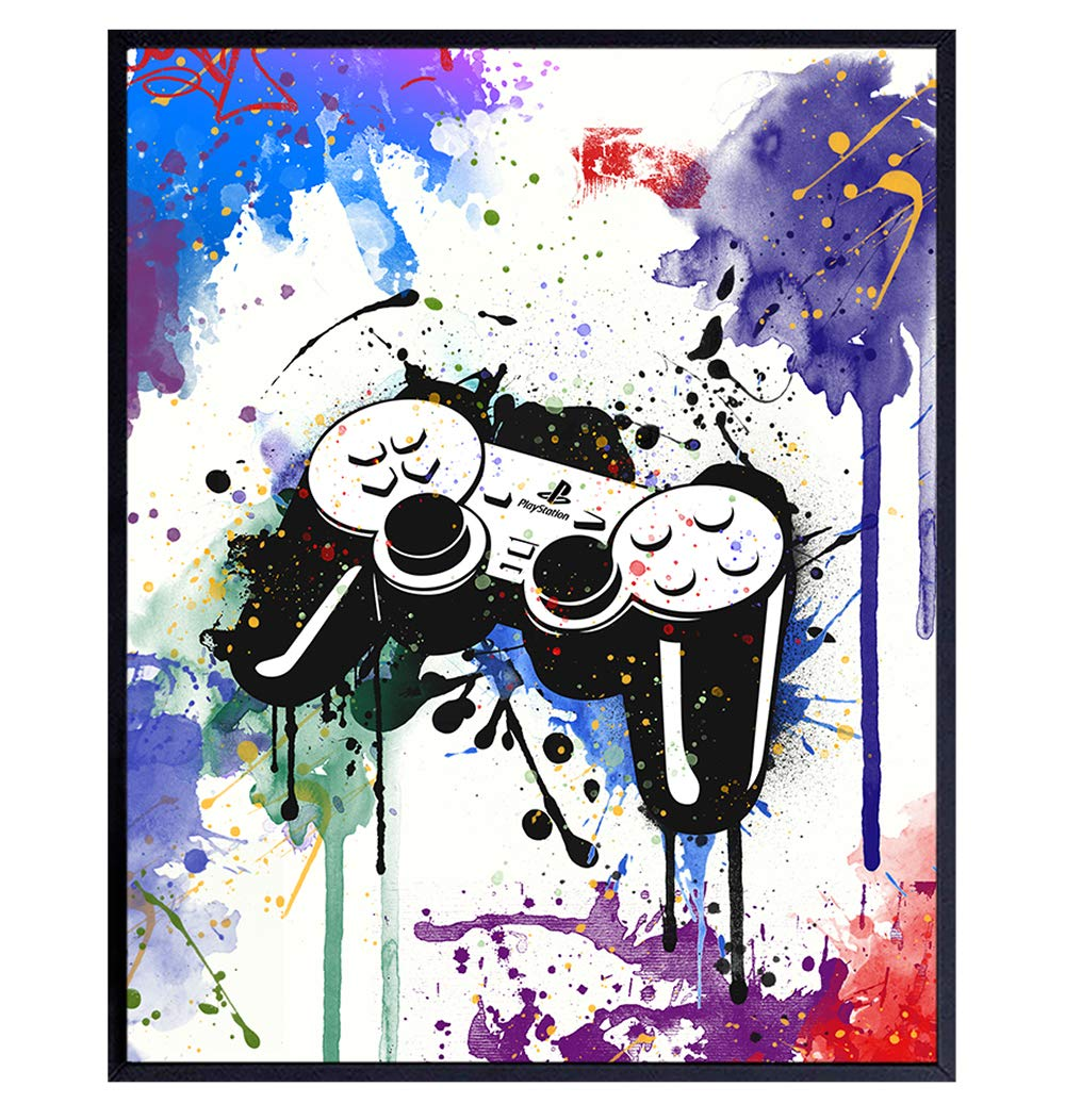 Video Arcade Remote Control Wall Decor - Gaming Controller Art Poster for Game Room, Dorm, Bar, Boys Room, Kids Bedroom - Gift for Gamers, Xbox, PS4, Playstation, Video Game, Arcade Fans, Men, Teens