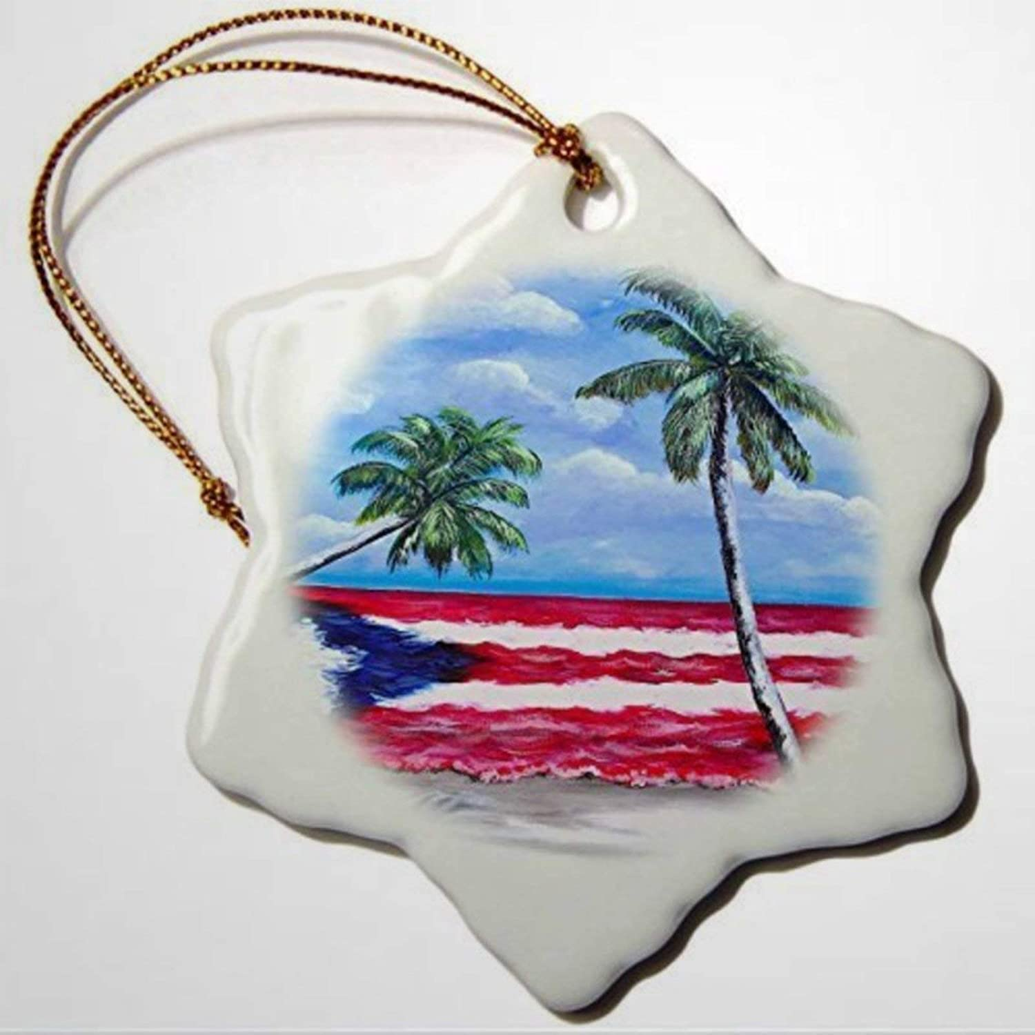 BYRON HOYLE Puerto Rican Art Palm Trees and Puerto Rican Flag Christmas Ornaments Pandemic Xmas Decor Holiday Present