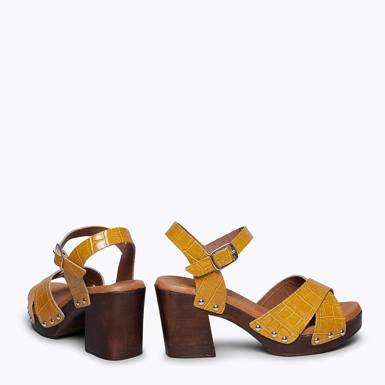 Sandalias Tac/ón y Plataforma C/ómodas con Plantilla Ultra Confort Gel Zapatos miMaO Zapatos Piel Hechos en ESPA/ÑA Sandalias Piel Textura Coco