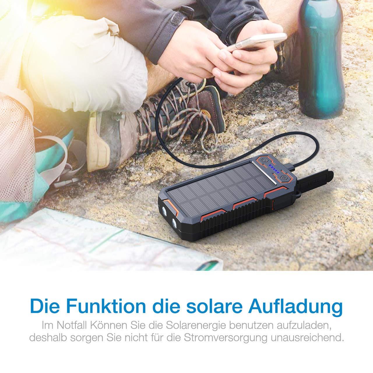 POWERADD Apollo 268000mAh Dual USB Tragbare Solar Ladegerät, Power Bank für iPhone und Handy