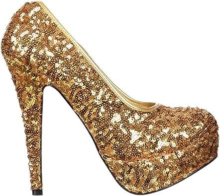 Amazon.com   Onlineshoe Women's Sparkly High Heel Platform