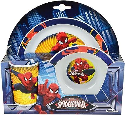 Bol /& Coupe-NEUF Marvel Spiderman Enfants/'s en Céramique 3 Pièce Petit Déjeuner Ensemble Assiette