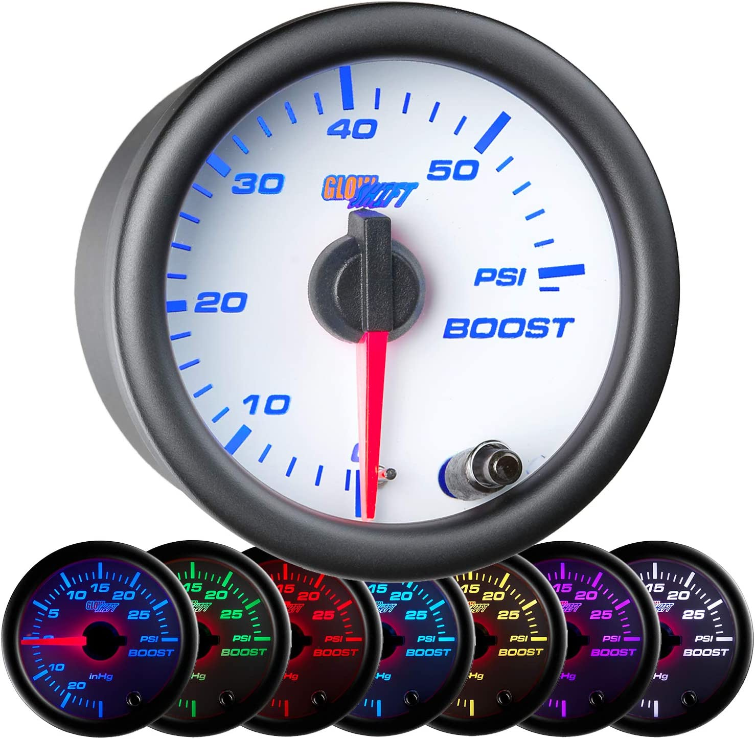 "GlowShift White 7 Color 60 PSI Turbo Boost Gauge Kit - Includes Mechanical Hose & Fittings - White Dial - Clear Lens - for Diesel Trucks - 2-1/16"" 52mm"