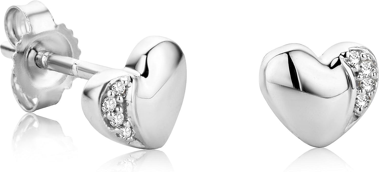 Orovi Pendientes Señora Corazón presión en Oro Blanco con Diamantes Talla Brillante Oro 18 kt /750
